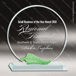 Crystal Green Accented Circle Nature Leaf Trim Trophy Award Circle Round Shaped Crystal Awards