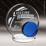 Crystal Blue Accented Circle Eclipse Trophy Award Circle Round Shaped Crystal Awards