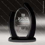 Crystal Black Accented Vine Trophy Award Circle Round Shaped Crystal Awards
