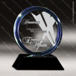 Crystal Blue Accented Halo Trophy Award Circle Round Shaped Crystal Awards