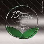Crystal Green Accented Leaf Shoots Trophy Award Circle Round Shaped Crystal Awards