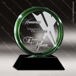 Crystal Green Accented Halo Trophy Award Circle Round Shaped Crystal Awards