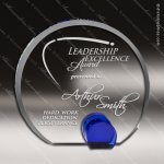 Crystal Blue Accented Universe Trophy Award Circle Round Shaped Crystal Awards