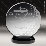 Crystal Sport Black Accented Medallion Golf Ball Trophy Award Circle Round Shaped Crystal Awards