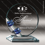 Glass Blue Accented Circle Trio Trophy Award Circle Round Shaped Glass Awards