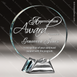 Glass Silver Accented Circle Impressions Trophy Award Circle Round Shaped Glass Awards