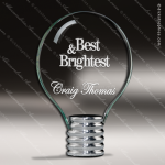 Glass Silver Accented Circle Light Bulb Helix IV Trophy Award Circle Round Shaped Glass Awards