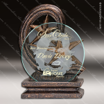 Glass Gold Accented Star Circle Remolino Trophy Award Circle Round Shaped Glass Awards