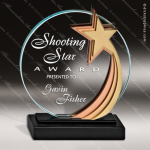 Glass Gold Accented Circle Star Medalist Trophy Award Circle Round Shaped Glass Awards