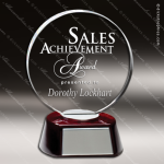Macareno Sphere Glass Rosewood Accented Circle Trophy Award Circle Round Shaped Glass Awards