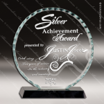 Jagiello Round Glass Black Accented Facet Trophy Award Circle Round Shaped Glass Awards