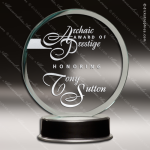 Jacqueline Circle Glass Black Accented Metro Trophy Award Circle Round Shaped Glass Awards
