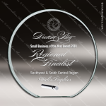 Tolston Orbit Glass Jade Accented Circle Silver Pole Stand Trophy Award Circle Round Shaped Glass Awards