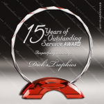Macneir Circle Glass Red Accented Round Trophy Award Circle Round Shaped Glass Awards