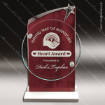 Pala Regent Glass Rosewood Accented Circle Star Trophy Award Circle Round Shaped Glass Awards