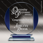 Machover Split Glass Blue Accented Circle Trophy Award Circle Round Shaped Glass Awards