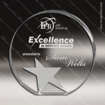 Acrylic Silver Accented Gemini Star Circle Trophy Award Clear Acrylic Awards