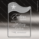 Acrylic Silver Accented Gemini Wave Star Fan Trophy Award Clear Acrylic Awards
