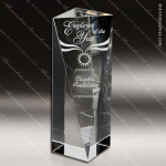 Crystal  Clear Sheared Triangle Tower Trophy Award Clear Crystal Awards