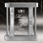 Crystal Silver Accented Rectangle Dimention Trophy Award Clear Crystal Awards