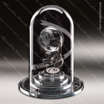 Crystal Silver Accented Globe Atlas 2000 Trophy Award Clear Crystal Awards