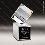 Crystal Silver Accented Diamond Cube On Metal Base Trophy Award Clear Crystal Awards