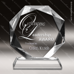 Crystal  Octagon With Jewel Edge Trophy Award Clear Crystal Awards