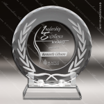 Crystal  Clear Round Circle Wreath Plate Trophy Award Clear Crystal Awards