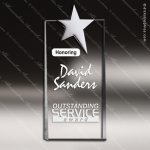 Crystal Silver Accented Super Chrome Star Trophy Award Clear Crystal Awards