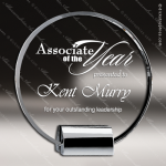 Crystal Silver Accented Circle Plaque Chrome Base Trophy Award Clear Crystal Awards