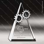Crystal Silver Accented Gear Top Tirangle Trophy Award Clear Crystal Awards