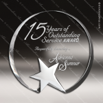Crystal Silver Accented Top Star Circle Trophy Award Clear Crystal Awards