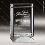 Crystal Silver Accented Rectangle Deco Trophy Award Clear Crystal Awards