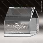Crystal  Clear 3D Slanted Real Estate Home House Trophy Award Clear Crystal Awards