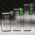 Crystal Green Leaf Trophy Award Clear Crystal Awards