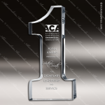Crystal  Clear Number 1 One Trophy Award Clear Crystal Awards