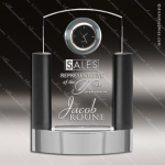 Engraved Crystal Desk Clock Neapolitan Clock Trophy Award Clock Crystal Awards