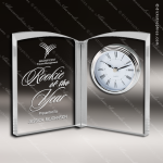 Engraved Crystal  Desk Clock Silver Accented Open Book Trophy Award Clock Crystal Awards