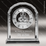Engraved Crystal  Desk Clock Silver Accented Template Trophy Award Clock Crystal Awards