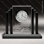 Engraved Crystal Desk Clock Black Accented Deco Style Trophy Award Clock Crystal Awards