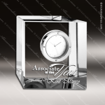 Engraved Crystal Desk Clock Slant Block Trophy Award Clock Crystal Awards