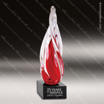 Artistic Red Accented Art Glass Twisted Spire Trophy Award Colorful Artistic Trophy Awards