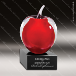 Artistic Red Accented Art Glass Teachers Apple Trophy Award Colorful Artistic Trophy Awards