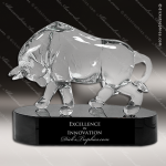 Glass Black Accented Bull Market Trophy Award Contemporary Trophy Awards