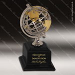 Cast Metal Black Accented Gold & Silver Globe Award Contemporary Trophy Awards