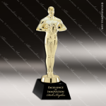 Cast Gold Accented Male Achievement Black Crystal Base Contemporary Trophy Awards