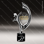 Cast Chrome Finished Art Disc Sculpture Marble Base Trophy Award Contemporary Trophy Awards