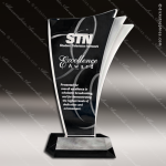 Acrylic Black Accented Wave Side Trophy Award Corporate Acrylic Awards