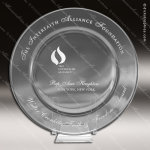 Crystal  Clear Circle Plate Accolade Award Dish Trophy Corporate Crystal Awards
