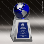 Crystal Blue Accented Globe Tower Trophy Award Corporate Crystal Awards